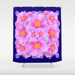 Dark Blue Fuchsia Pink Clustered Roses Shower Curtain