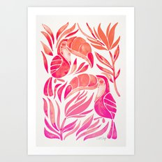Tropical Toucans – Pink Ombré Palette Art Print