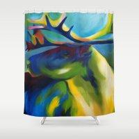 elk Shower Curtains featuring Elk by mynameiselena