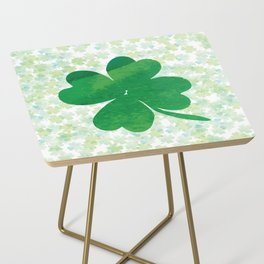Lucky Watercolor Clovers Side Table