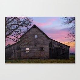 Rural Skies of Dusk - Rustic Barn Photography Canvas Print