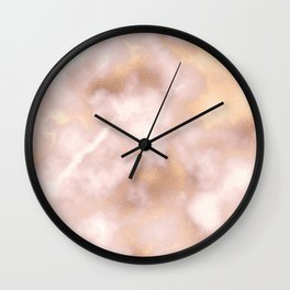 Blush pink faux gold vintage elegant marble Wall Clock