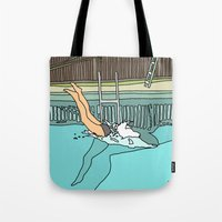 diver Tote Bags featuring Diver by Highly Anticipated