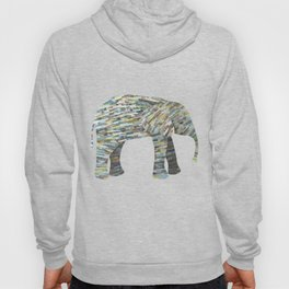 Elephant Paper Collage in Gray, Aqua and Seafoam Hoody