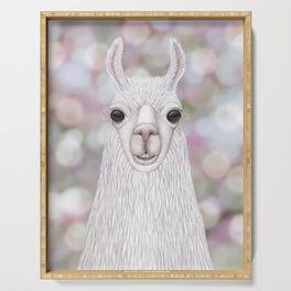 Llama farm animal portrait Serving Tray