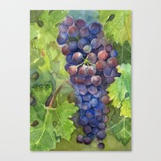 Grapes Watercolor Fruit Food Wine Lovers Canvas Print