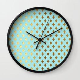 Queenlike- aqua and gold elegant quatrefoil ornament pattern Wall Clock