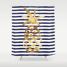 Pineapple & Stripes - Navy / White / Gold Shower Curtain