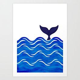 Blue Whale Tail Art Print