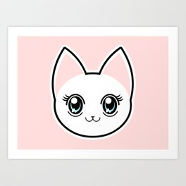 White Anime Eyes Cat Art Print