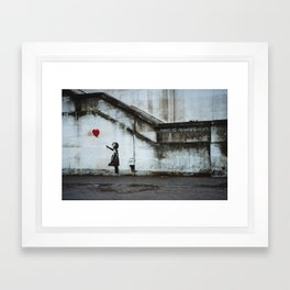 Banksy street art / photograph - girl with red ballon Framed Art Print