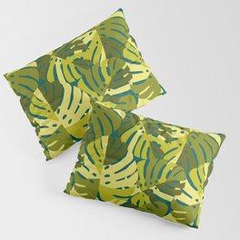 Monstera Leaves in Green Pillow Sham