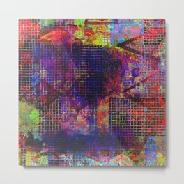 Dark Rainbow Rectangle Tile Pattern Metal Print