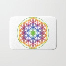 Rainbow Flower of Life - Rainbow Tribe Collection Bath Mat
