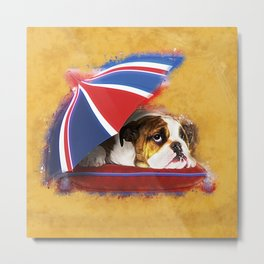 English Bulldog Puppy with umbrella Metal Print