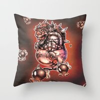 bombs away Throw Pillows featuring BOMBS AWAY BOWSER by Tim Shumate
