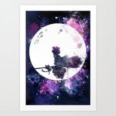 Kiki & Jiji Flying Over The Moon Kiki's Delivery Service Art Print