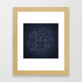 Love Where You Poo - Blue Framed Art Print