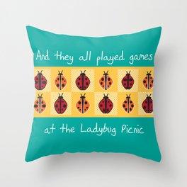 Ladybug Picnic Throw Pillow