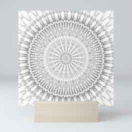 Gray White Mandala Mini Art Print