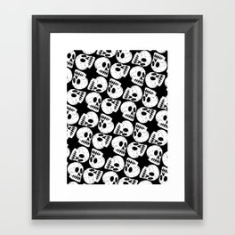Black and White Human Skull Pattern Framed Art Print