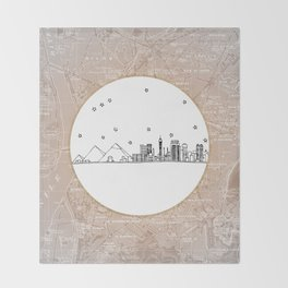 Cairo, Egypt (Giza), Africa City Skyline Illustration Drawing Throw Blanket