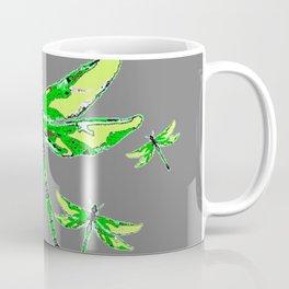 EMERALD GREEN  SWAMP DRAGONFLIES GREY ART Coffee Mug