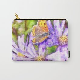 Orange Wings and Purple Petals Carry-All Pouch