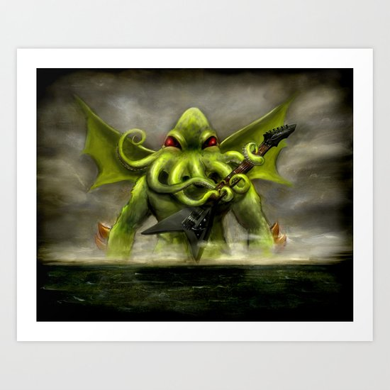 Cthulhu Awakens and Totally Shreds a Sweet Ass Guitar Solo  Art Print