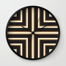 Black & Gold Stripes Wall Clock