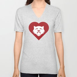 Wildcat Mascot Cares Red Unisex V-Neck