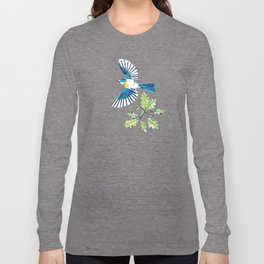Flying Birds and Oak Leaves on Yellow Long Sleeve T-shirt