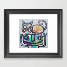 Juggler with Cat Framed Art Print