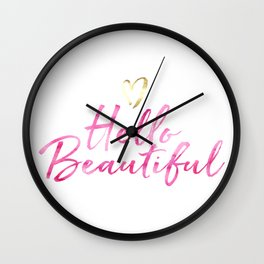 Pink Hello Beautiful with Gold Heart Wall Clock