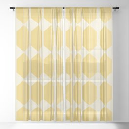 Zola Hexagon Pattern - Golden Spell Sheer Curtain