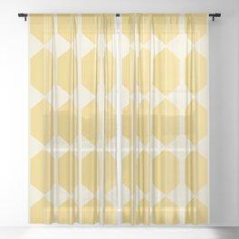 Hexagonal Pattern - Golden Spell Sheer Curtain