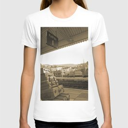 Llangollen Railway Station, Wales,  in Sepia T-shirt