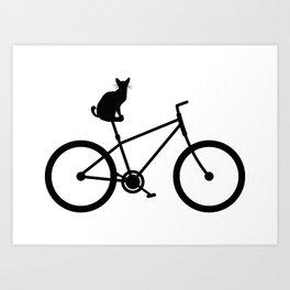 Funny Bicycle Cat Cyclist Gift Shirt Art Print