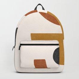 Mid Century Abstract Geometric Shapes, Terracotta Half Circles, Boho Decor, Earth Tones Phases Backpack