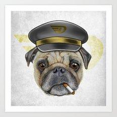 Pug Commander  Art Print