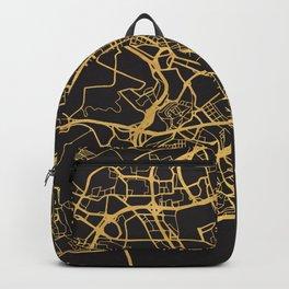 LISBON PORTUGAL GOLD ON BLACK CITY MAP Backpack