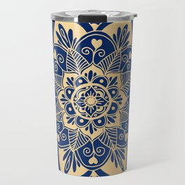 Blue and Gold Flower Mandala Travel Mug
