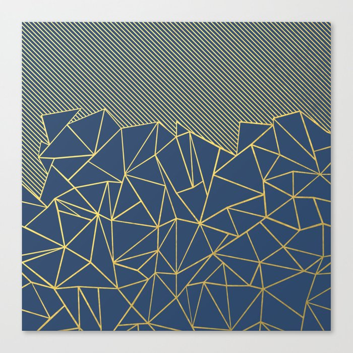 Ab Lines 45 Navy and Gold Canvas Print
