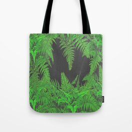 DECORATIVE CHARCOAL GREY GREEN FERNS GARDEN ART Tote Bag