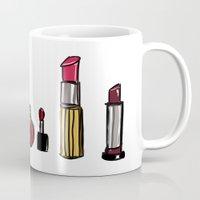 lipstick Mugs featuring Lipstick by Kayla Phan
