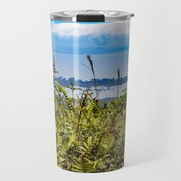 Looking Through Tall Grass and Wildflowers at the Lake on top of Mombacho Volcano, Nicaragua Travel Mug