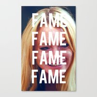lindsay lohan Canvas Prints featuring FAME - LINDSAY LOHAN by Beauty Killer Art