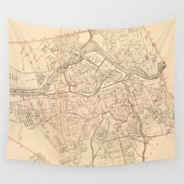 Vintage Map of Lowell MA (1904) Wall Tapestry