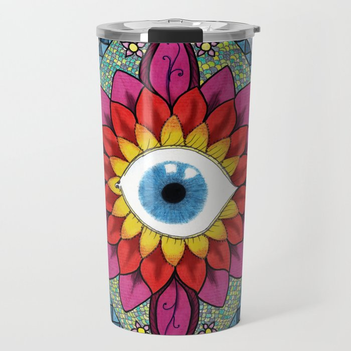 Colorful Eye of Horus Mandala Mosaic Abstract Travel Mug