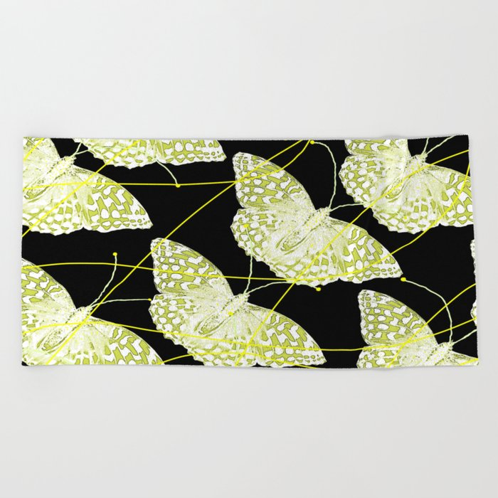 Butterflies on black background #decor #society6 Beach Towel